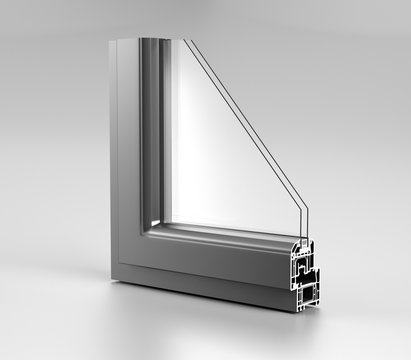 Realistic Angle Cut Off Modern PVC Aluminium Metal Home Window High Quality Grey Profile With Two Glasses Economy Energy Efficient Concept On White Background And Reflection 3D Rendering