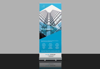 Banner Advertisement Layout with Light Blue Accents