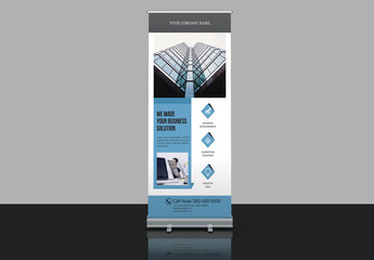 Banner Advertisement Layout with Blue-Gray Accents
