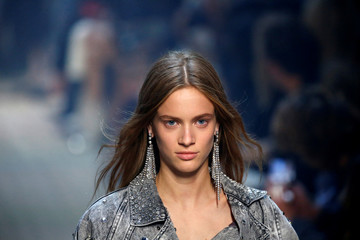 A model presents a creation by designer Isabel Marant as part of her Spring/Summer 2019 women's ready-to-wear collection show during Paris Fashion Week in Paris