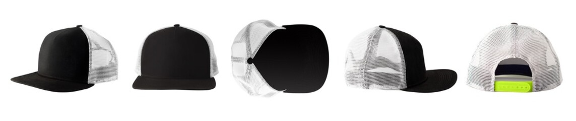 Collection of front, side, back and top views of black baseball cap or trucker hat with mesh isolated on white background