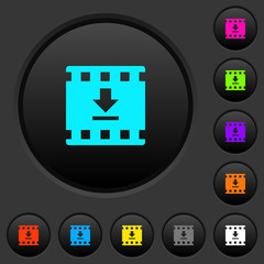 Download movie dark push buttons with color icons