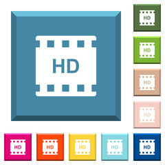 HD movie format white icons on edged square buttons