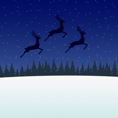 Reindeer jumps against the background of the moon