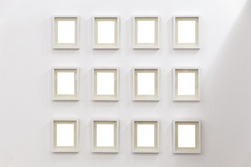 White frames on a white background