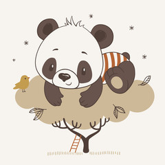 Vector illustration of a cute baby panda on the tree in cartoon style.