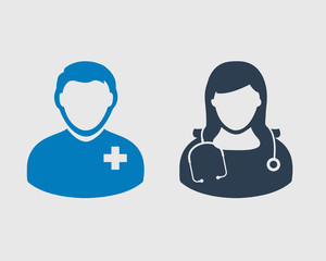 Medical Team Icon. Male and female doctor symbols on gray background.