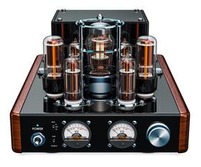 Vintage stereo amplifier, 3D rendering