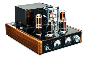 Vintage vacuum tube amplifier, 3D rendering