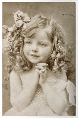 CUte little girl Vintage portrait picturefilm grain blur