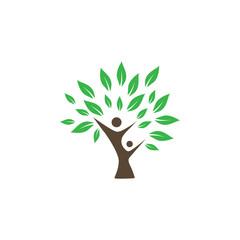 Wellness tree logo icon design template vector