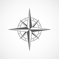 Gray compass icon. Vector illustration.