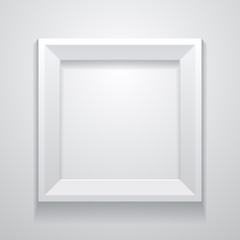Realistic white frame on a clean wall. Vector illustration. Template for your design