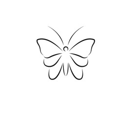 Butterfly line art logo icon design template vector