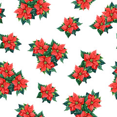 Seamless pattern of poinsettia, watercolor background Christmas illustration.