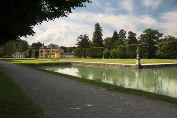 A park surrounding the Hellbrunn Palace. The palace is located south of Salzburg, Austria.