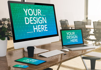 4 Devices on Desk Mockup
