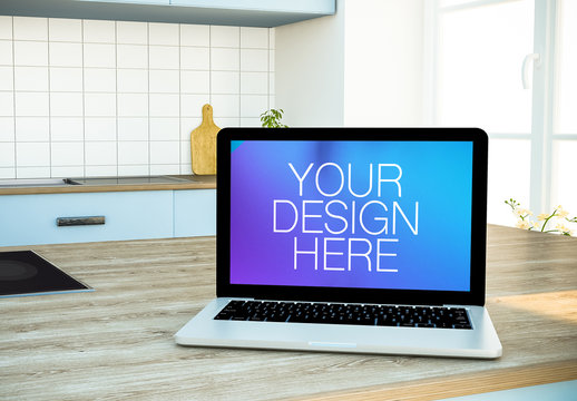 Laptop in Kitchen Mockup
