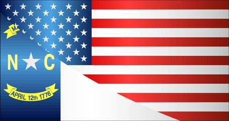 Flag of USA and North Carolina state - Illustration, 