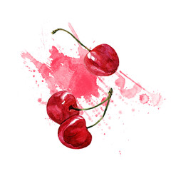 Cherries, watercolor illustration on white background.
