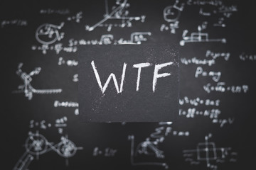 wtf. complicated odd strange unclear scientific formula or equation. education research and experiment concept.
