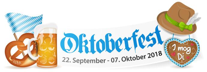 Oktoberfest 2018 Banner mit Bierglas, Brezel und Lebkuchenherz
