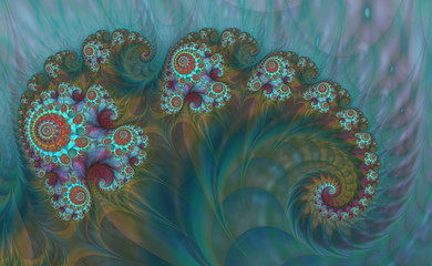 Abstract Digital Artwork. Patterns of nature. Jewels and seashells theme. Technologies of fractal graphics.