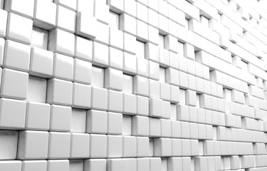 Abstract geometric shape of white cubes 3d render background
