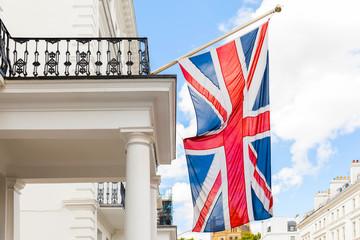 UK, Union Jack British flag waving in wind