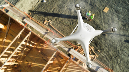 Unmanned Aircraft System (UAV) Quadcopter Drone In The Air Above Construction Site