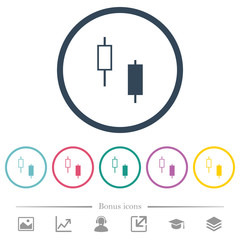 Two candlesticks flat color icons in round outlines