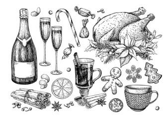 Christmas traditional food and drink set. Holiday treats vector