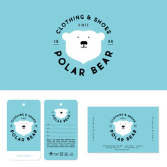 Polar bear logo. Clothing and shoes emblem. The head of polar bear and letters on a circle. Sports and warm wears. Identity, labels and business card.
