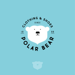 Polar bear logo. Clothing and shoes emblem. The head of polar bear and letters on a circle. Sports and warm wears.