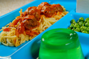 Lunch Tray Spaghetti and Meatballs