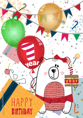 Happy Birthday Card Design For One Year Old Baby