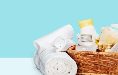Bath towel and basket with accessories for