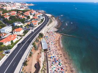 Aerial drone view of Cascais beach, Parede civil parish, Greater Lisbon, Portugal, Atlantic Ocean shore