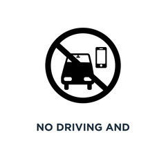 No driving and phone using icon. Simple element illustration. No