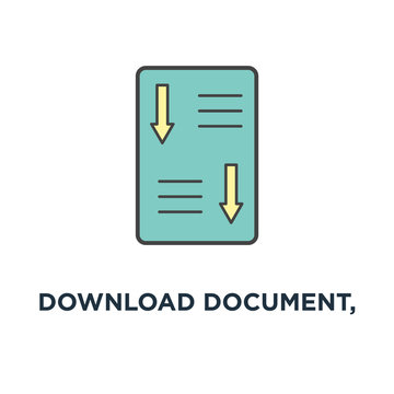 download document, white paper icon. ico main investment document concept symbol design, company strategy, brief, approved development product plan, outline modern with downloading green arrow,