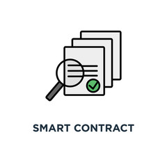 smart contract audit or smart contract review icon, symbol of outline concept main electronic blockchain ico document with loupe and code