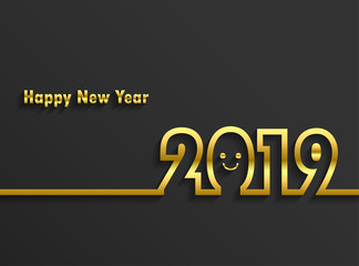 Happy new 2019 year. Greetings card. Colorful design. Vector illustration.