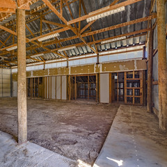 Interior view of an empty aged barn