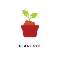 plant pot icon. flower plant concept symbol design, gardening ve