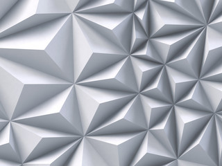 3d abstract white faceted background, architectural texture, geometrical triangular shapes, polygonal structure