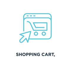 shopping cart, completed order, e icon. commerce linear concept