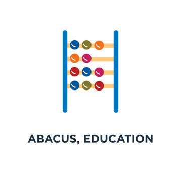 abacus, education icon, symbol of school math concept