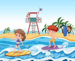 Children surfing on waves