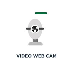 video web cam icon, symbol of chat camera, webcam concept