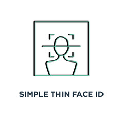 simple thin face id scan icon, symbol stroke trend modern software ui logotype graphic linear design concept of fast future facial scanner for smart phone or laptop